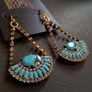 Erickson Beamon Rocks Drop Fan Earrings Blue Lucit